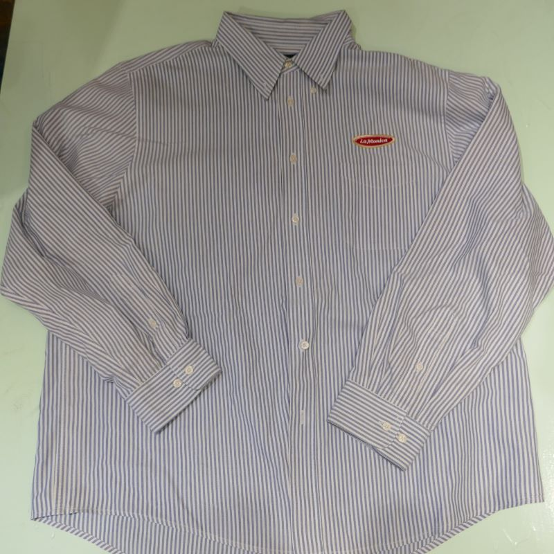 USED LaMonica STRIPE L/S OXFORD B/D SHIRT BLUE