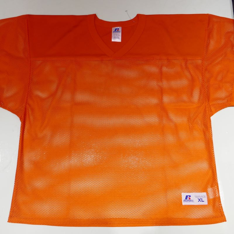 USED RUSSELL ATHLETIC S/S MESH SHIRT ORANGE