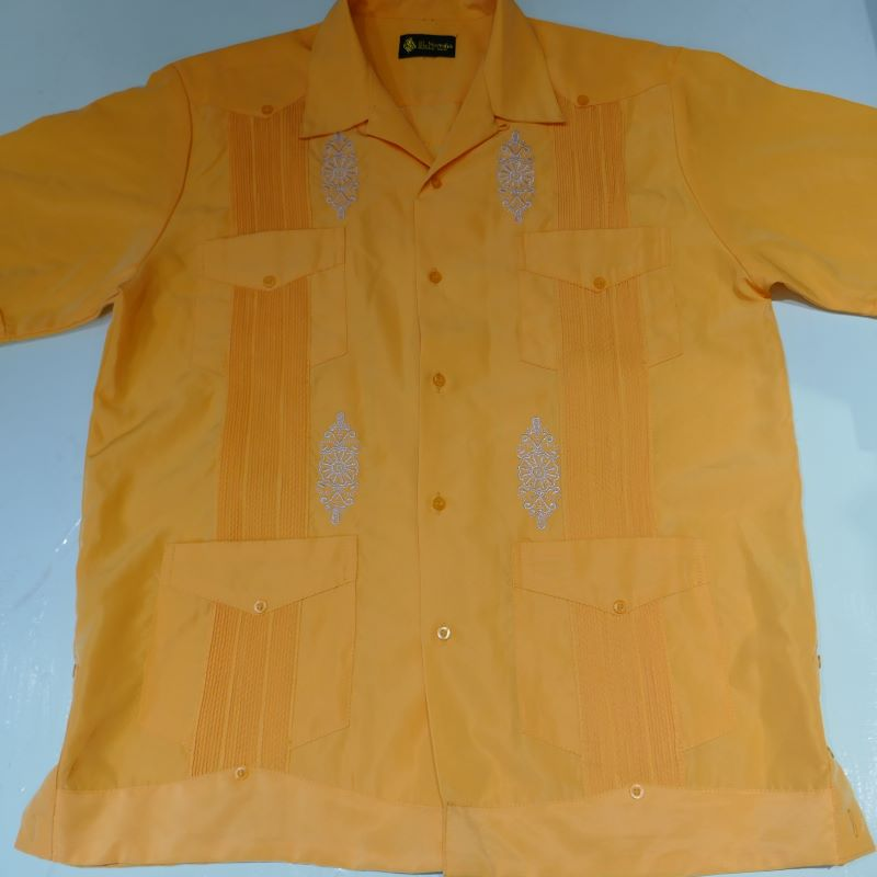 USED EL NORTENO S/S GUAYABERA SHIRT YELLOW