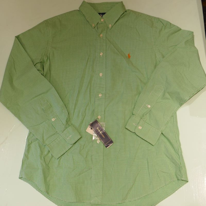 VINTAGE RALPH LAUREN GINGHAM CHECK BD L/S SHIRT GREEN