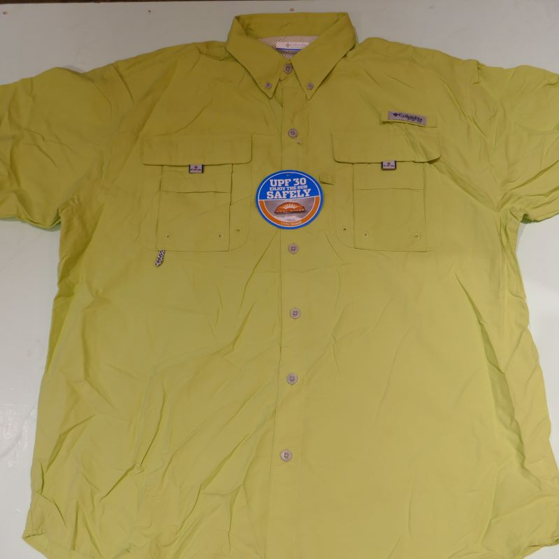 USED COLUMBIA OMNI-SHADE S/S WORK SHIRT LIGHTGREEN