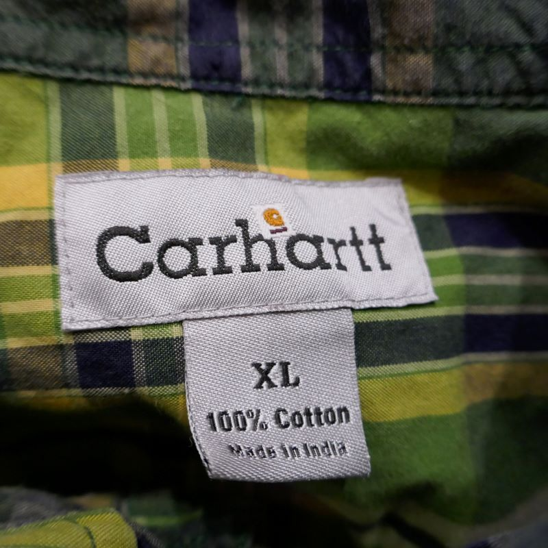 USED CARHARTT L/S MADRAS CHECK SHIRT GREEN