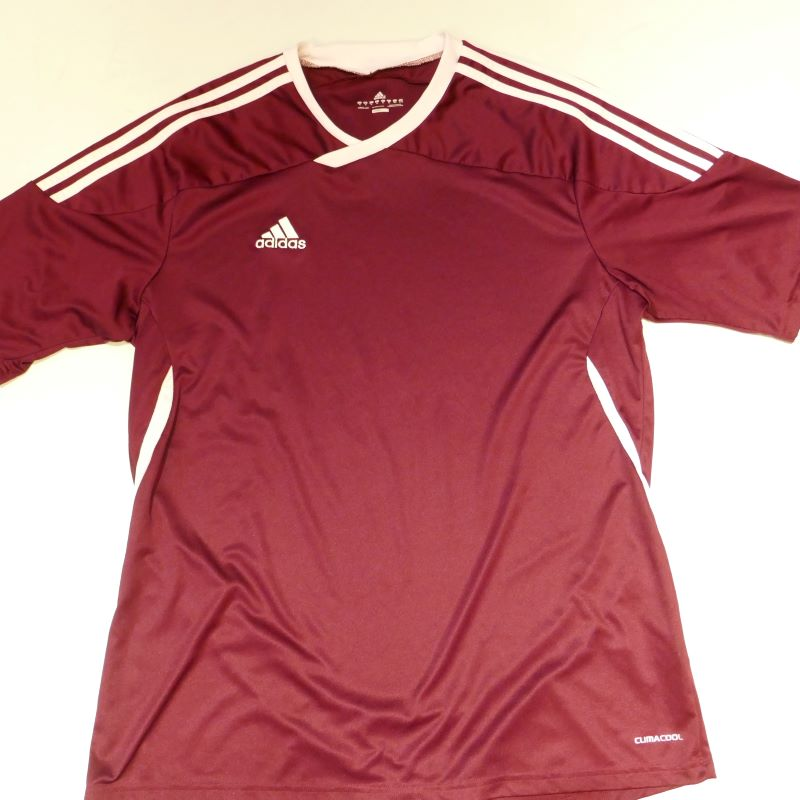 USED ADIDAS S/S JERSEY SHIRT BURGUNDY
