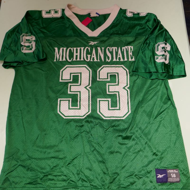 USED REEBOK MSU #33 S/S FOOTBALL JERSEY SHIRT GREEN
