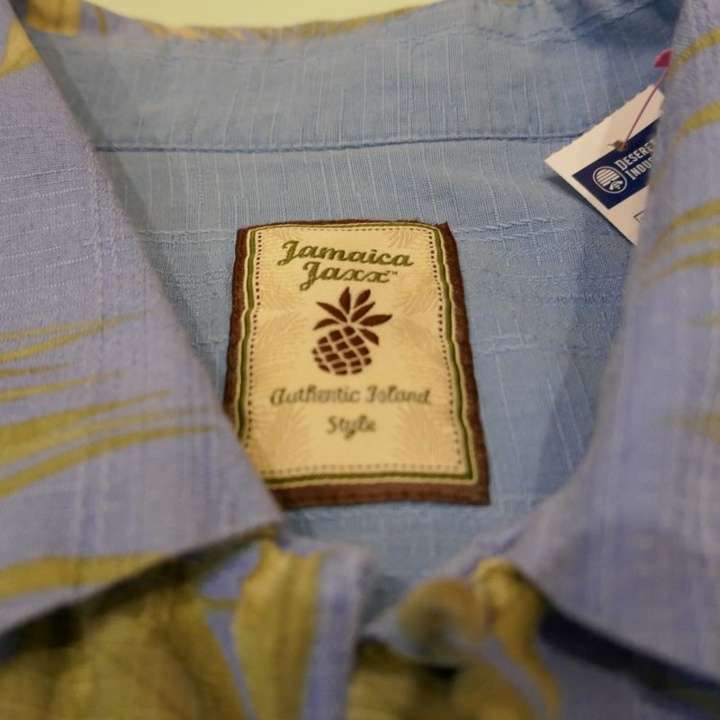 USED JAMAICA JAXX  S/S SILK ALOHA SHIRT BLUE