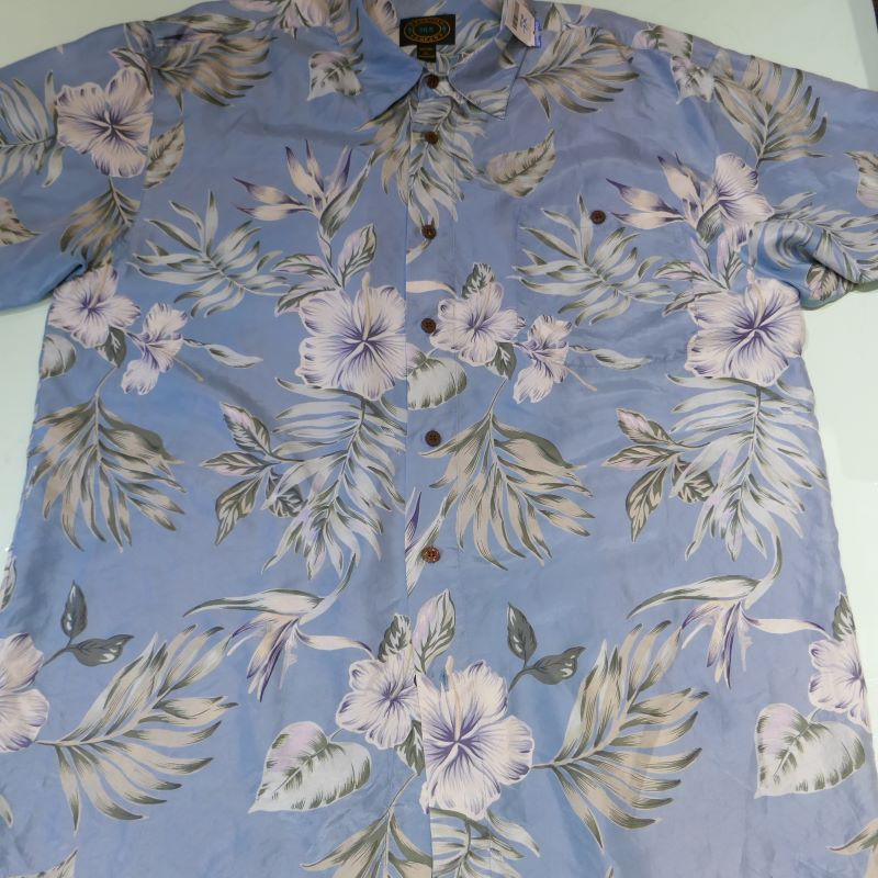 USED HAWAIIAN COMPANY S/S ALOHA SHIRT BLUE