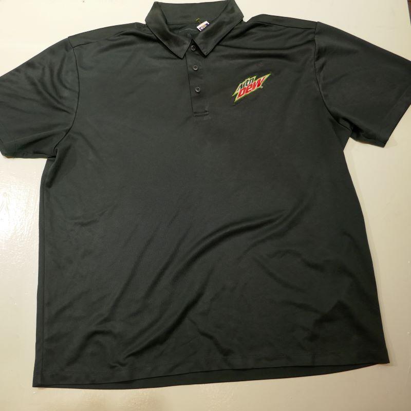 USED MTN DEW S/S JERSEY POLO SHIRT DARKGREEN