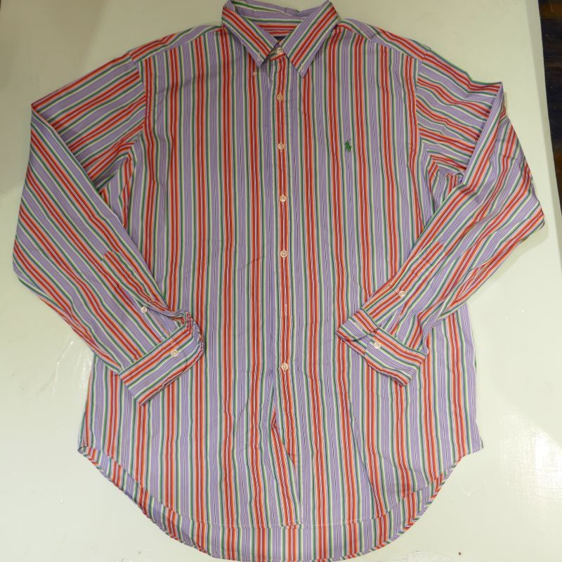 USED RALPH LAUREN STRIPE BD L/S SHIRT MULTI