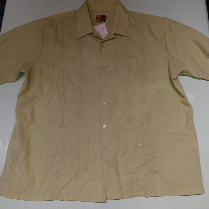 USED THE GENUINE HABAND GUAYABERA S/S SHIRT LIGHT GREEN