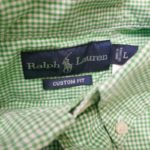 USED RALPH LAUREN GINGHAM CHECK BD L/S SHIRT GREEN