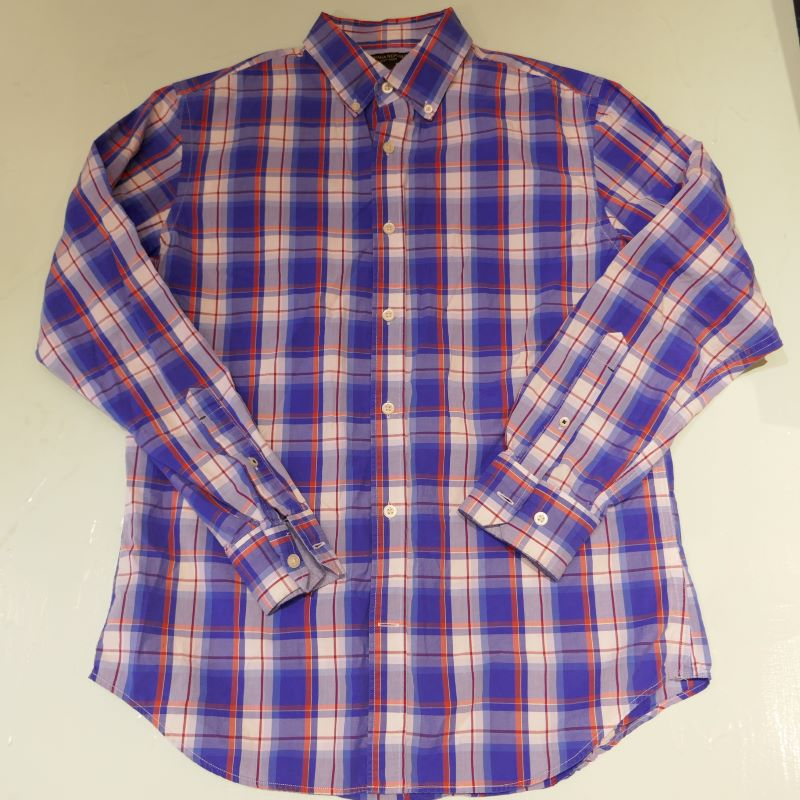 USED BANANA REPUBLIC L/S MADRAS CHECK SHIRT BLUE